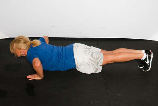Lower your body until your chest, chin and quads touch the ground at the same time, as if doing a [Push Up].