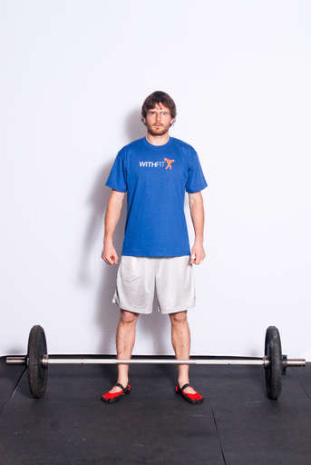 Stand by the bar with your feet approximately hip width apart.