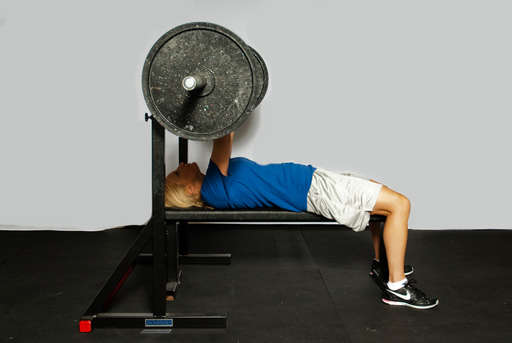Continue to push the weight up until your arms are completely straight, returning to <2/position 2>.