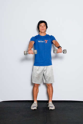 Lift your arms up, making sure that you have a slight bend in your elbow. Ensure no momentum is used to raise the weights.