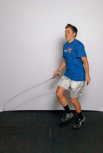 When the jump rope approaches your foot, jump high enough off of your standing foot to jump over the rope.