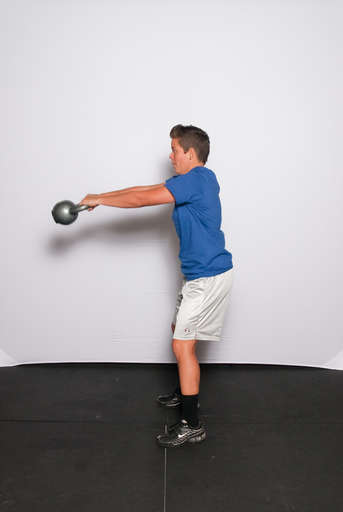 Extend your knees and hips to drive the weight forward and up.