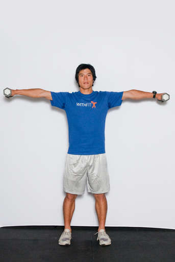 Raise your arms out and up so they come to shoulder level. Be sure to have a slight bend in your elbows at all times.