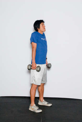 Lift your shoulders straight up so that they come up to the top of your neck, just like you are shrugging.