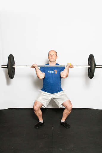 Begin to bend your knees and hips to lower your body, as if performing a [Front Squat]. Keep the weight at your shoulders throughout the squat.