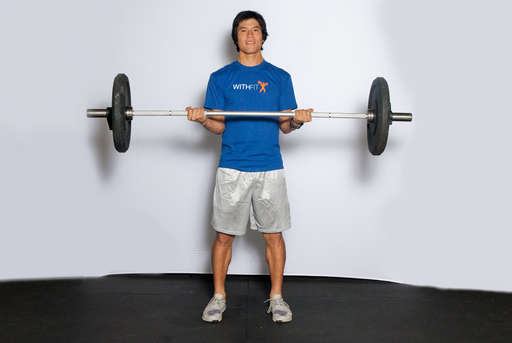 Lower the weights back down, so that your arms are straight down again as in <1/position 1>.