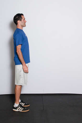 Stand up tall with your back straight, abs pulled in looking straight ahead with head help up.