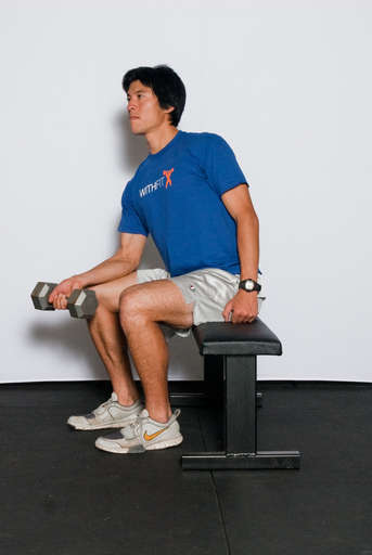 Sit on a bench with your forearms laying on the top of your thighs. The palms of your hands should be facing up. Hold a barbell in the palm of your hands with an underhand grip. Bend your wrists back so that the barbell is resting on your fingers.