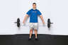 Stand up until the barbell is touching you mid-thigh. Keep your arms straight. This is the starting position for this lift.